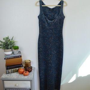 Betsey Johnson 90's Blue Velvet Maxi Bodycon Dress